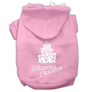 Wedding Crasher Screen Print Pet Hoodies Light Pink Size Sm (10)