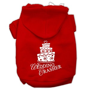 Wedding Crasher Screen Print Pet Hoodies Red Size Lg (14)