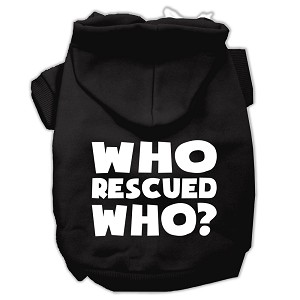 Who Rescued Who Screen Print Pet Hoodies Black Size Med (12)