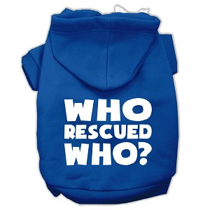 Who Rescued Who Screen Print Pet Hoodies Blue Size XS (8)
