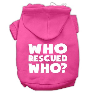 Who Rescued Who Screen Print Pet Hoodies Bright Pink Size XS (8)