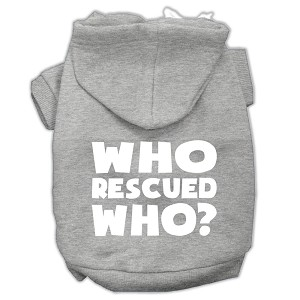 Who Rescued Who Screen Print Pet Hoodies Grey Size XS (8)