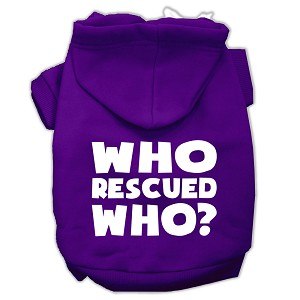 Who Rescued Who Screen Print Pet Hoodies Purple Size Sm (10)