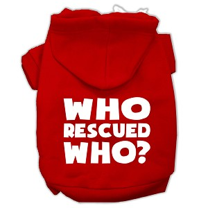 Who Rescued Who Screen Print Pet Hoodies Red Size XXL (18)