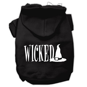 Wicked Screen Print Pet Hoodies Black Size L (14)