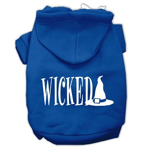 Wicked Screen Print Pet Hoodies Blue Size XS (8)