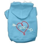 XOXO Screen Print Pet Hoodies Baby Blue Size XS (8)