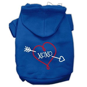 XOXO Screen Print Pet Hoodies Blue Size XXL (18)