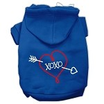 XOXO Screen Print Pet Hoodies Blue Size XS (8)