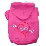 XOXO Screen Print Pet Hoodies Bright Pink Size XS (8)