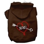 XOXO Screen Print Pet Hoodies Brown Size XS (8)