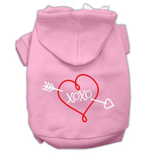 XOXO Screen Print Pet Hoodies Light Pink Size Med (12)