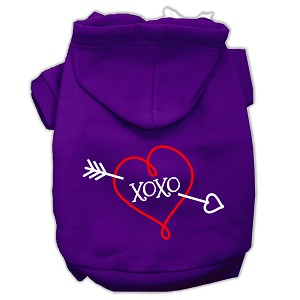 XOXO Screen Print Pet Hoodies Purple Size Lg (14)