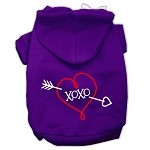 XOXO Screen Print Pet Hoodies Purple Size XS (8)
