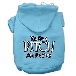 Yes Im a Bitch Just not Yours Screen Print Pet Hoodies Baby Blue Size Lg (14)