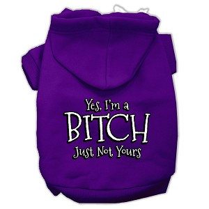 Yes Im a Bitch Just not Yours Screen Print Pet Hoodies Purple Size XS (8)