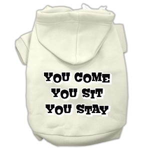 You Come, You Sit, You Stay Screen Print Pet Hoodies Cream Size XS (8)