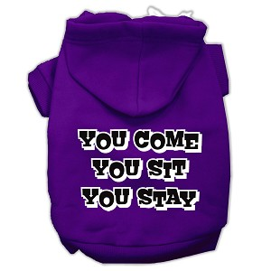 You Come, You Sit, You Stay Screen Print Pet Hoodies Purple Size XS (8)