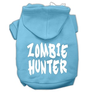 Zombie Hunter Screen Print Pet Hoodies Baby Blue Size S (10)