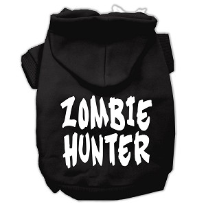 Zombie Hunter Screen Print Pet Hoodies Black Size XL (16)