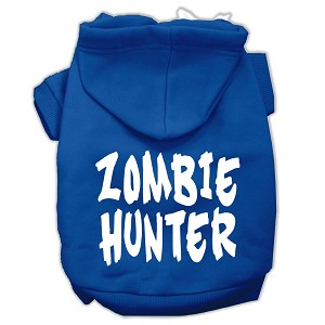 Zombie Hunter Screen Print Pet Hoodies Blue Size M (12)