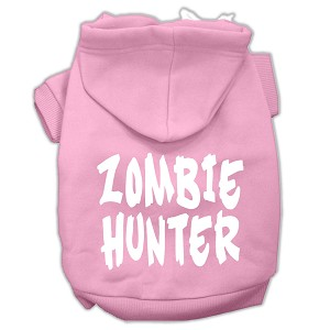 Zombie Hunter Screen Print Pet Hoodies Light Pink Size XXXL(20)