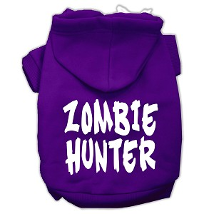 Zombie Hunter Screen Print Pet Hoodies Purple Size XXXL(20)