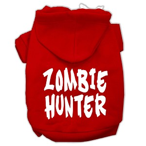 Zombie Hunter Screen Print Pet Hoodies Red Size XXL (18)
