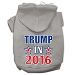Trump in 2016 Election Screenprint Pet Hoodies Grey Size M (12)