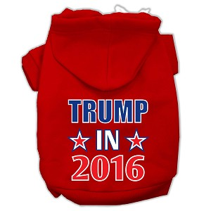 Trump in 2016 Election Screenprint Pet Hoodies Red Size XL (16)