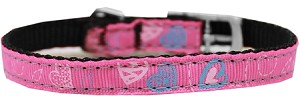 Crazy Hearts Nylon Dog Collar with classic buckles 3/8