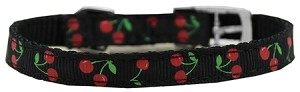 Cherries Nylon Dog Collar with classic buckle 3/8