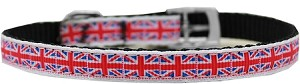 Tiled Union Jack(UK Flag) Nylon Dog Collar with classic buckle 3/8