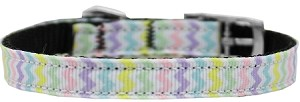 Spring Chevron Nylon Dog Collar with classic buckle 3/8