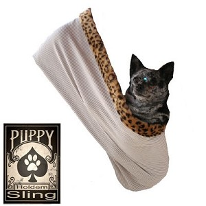 Plain Puppy Holdem Sling Tan w/ Cheetah trim Size Lg/XL