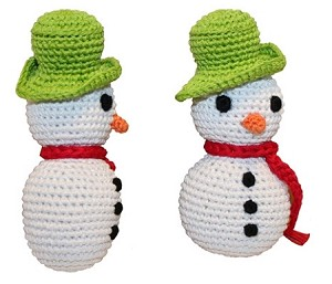 Holiday Knit Knack Frost The Snowman Organic Small Dog Toy