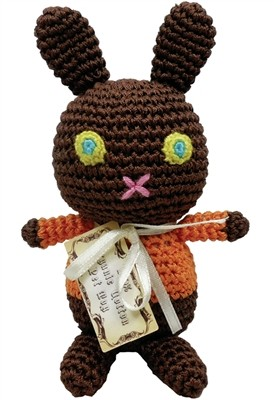 Knit Knacks Mock Choco Easter Bunny Organic Cotton Small Dog Toy