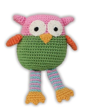 Knit Knacks Wise Guy Owl Organic Cotton Small Dog Toy