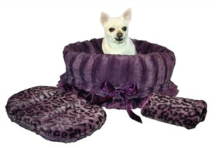 Purple Cheetah Reversible Snuggle Bugs Pet Bed, Bag, and Car Seat in One