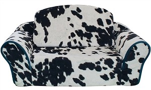 Cowprint with Turquoise Interior Pull Out Pet Sleeper Sofa Bed