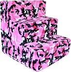 Pink Camo Plush Foam Pet Steps