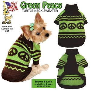 Green Peace Pet Sweater Size LG