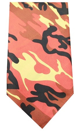 Plain Patterned Bandana Orange Camo