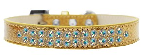 Two Row AB Crystal Size 14 Gold Ice Cream Dog Collar