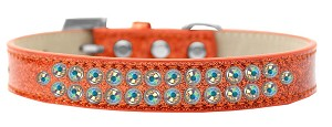 Two Row AB Crystal Size 20 Orange Ice Cream Dog Collar