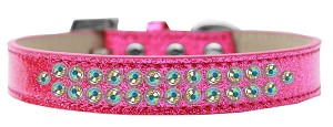 Two Row AB Crystal Size 20 Pink Ice Cream Dog Collar