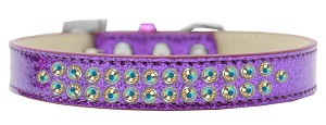 Two Row AB Crystal Size 14 Purple Ice Cream Dog Collar