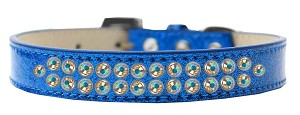 Two Row AB Crystal Size 14 Blue Ice Cream Dog Collar