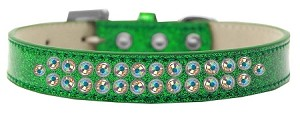 Two Row AB Crystal Size 18 Emerald Green Ice Cream Dog Collar