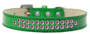 Two Row Bright Pink Crystal Size 14 Emerald Green Ice Cream Dog Collar